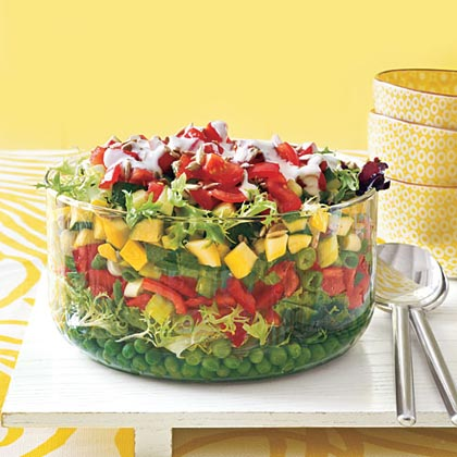 Layered Salad with Buttermilk Ranch Dressing