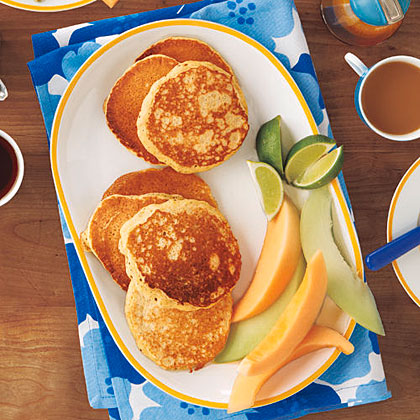 Coconut Milk Pancakes with Maple-Lime Syrup