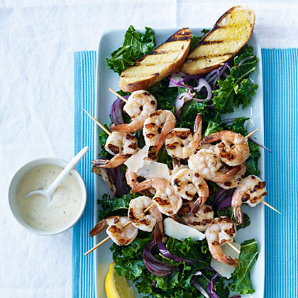ay-Kale Caesar Salad with Grilled Shrimp