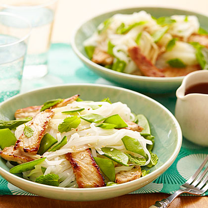 ay-Rice Noodle Salad with Pork and Snow Peas