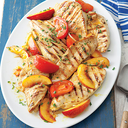 Grilled Chicken with Curried Peaches