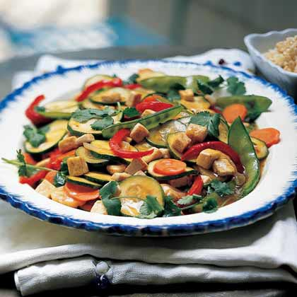 Garden Vegetable Stir-fry with Tofu and Brown Rice