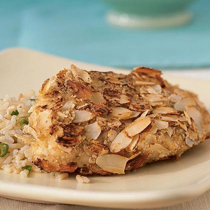 Almond-Crusted Chicken with  Rice