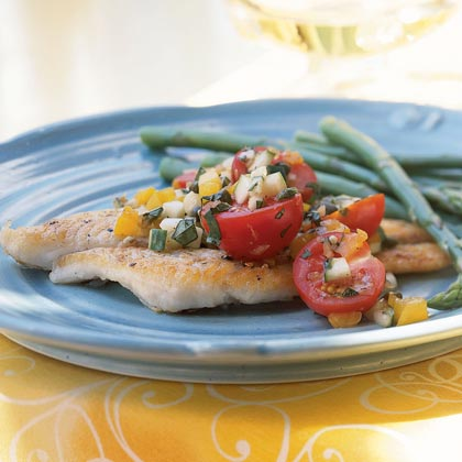 Pan-Fried Sole with Cucumber and Tomato Salsa