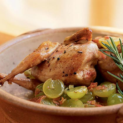 Quail with Grapes and Grappa