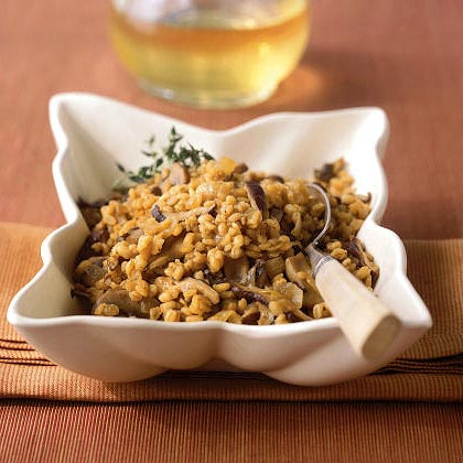 Baked Barley with Shiitake Mushrooms and Caramelized Onions
