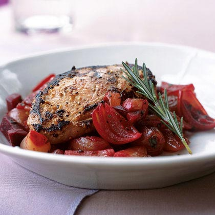 Marinated Duck Breasts with Shallot and Beet Relish
