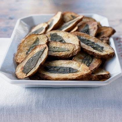 Oven Fries with Crisp Sage Leaves