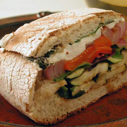 Grilled Vegetable and Mozzarella Sandwiches