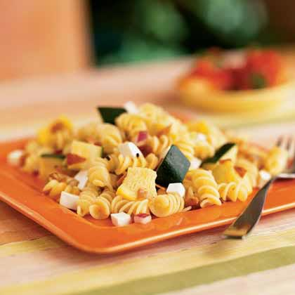 Rotini, Summer Squash, and Prosciutto Salad with Rosemary Dressing