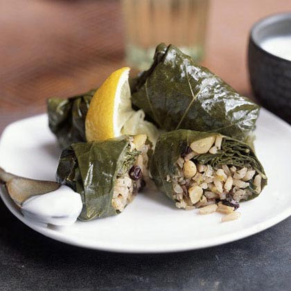 Grape Leaves Stuffed with Rice, Currants, and Herbs