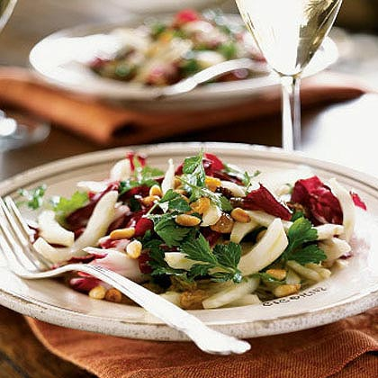Fennel, Parsley, and Radicchio Salad with Pine Nuts and Raisins