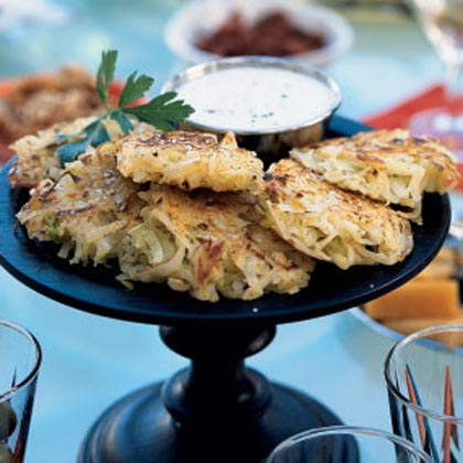 Leek and Potato Fritters with Lemon-Cumin Yogurt