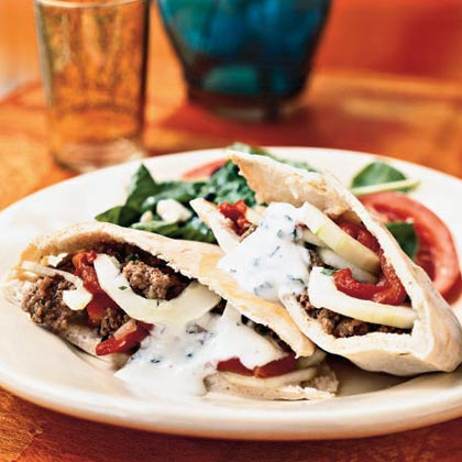 Lamb Pitas with Lemon-Mint Sauce