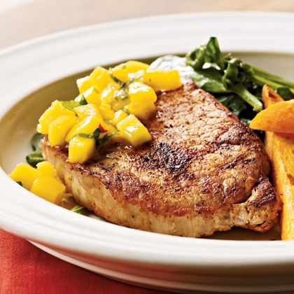 Spiced Chops with Mango-Mint Salsa