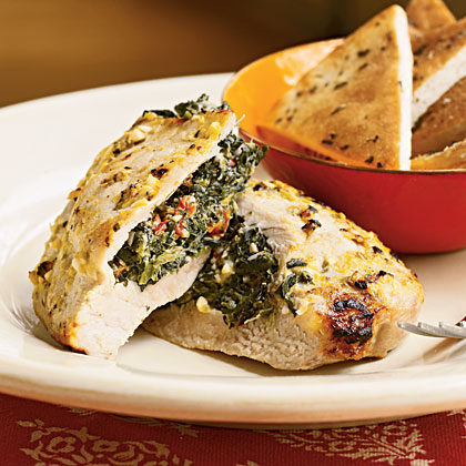 Pork Chops Stuffed with Feta and Spinach