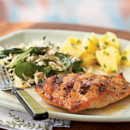 Grilled Salmon with Apricot-Mustard Glaze