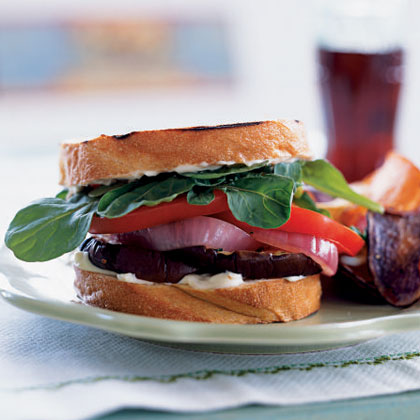 Grilled Eggplant Sandwiches with Red Onion and Aioli