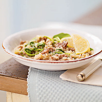 Risotto with Italian Sausage, Caramelized Onions, and Bitter Greens