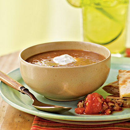 Black Bean–Tomato Soup with Cilantro-Lime Cream