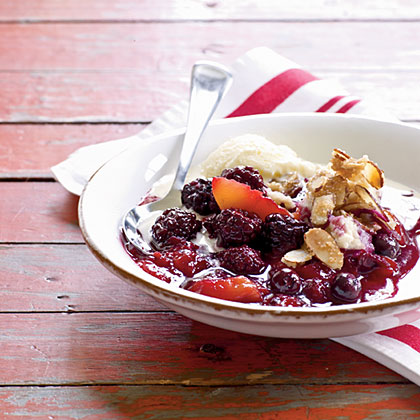 Berry-Peach Cobbler with Sugared Almonds