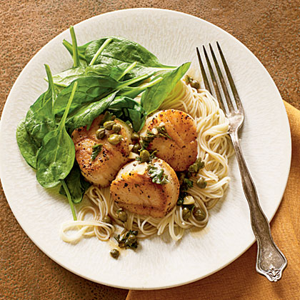 Scallop Piccata with Spinach