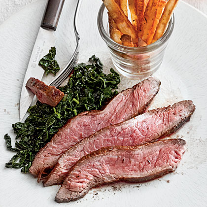 Canjun Steak Frites with Kale