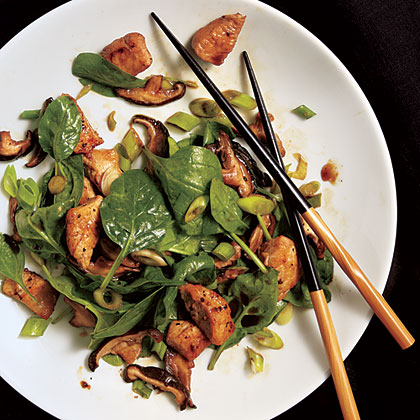 Teriyaki Mushroom, Spinach, and Chicken Salad