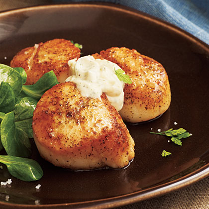 Scallops with Green Tea Cream