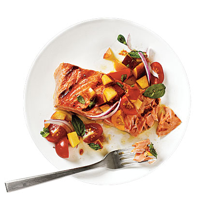 Salmon with Tomato-Peach Salsa