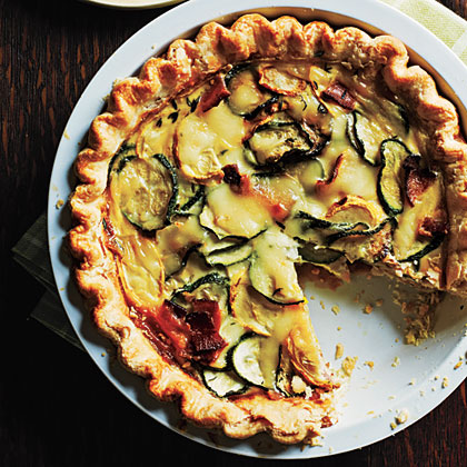 Summer Squash, Bacon, and Mozzarella Quiche