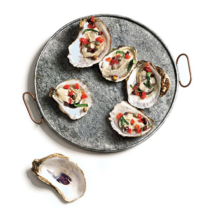 Smoked Oysters with Olive Relish
