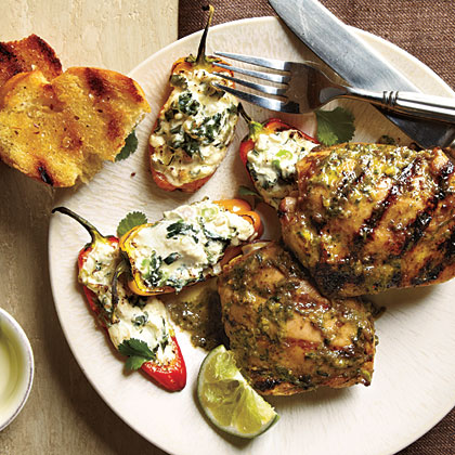 ck-Jerk Chicken and Stuffed Mini Bell Peppers