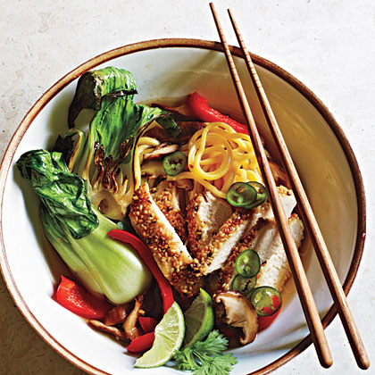 Sesame Chicken and Noodles in Mushroom Broth