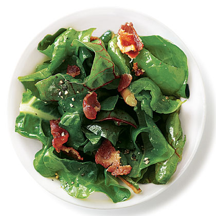 Warm Bacon Vinaigrette Swiss Chard