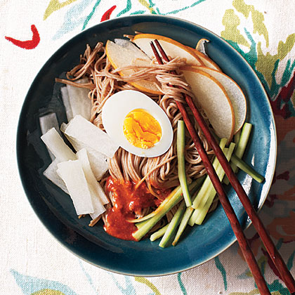 Korean Chilled Buckwheat Noodles with Chile Sauce (Bibim Naengmyun)