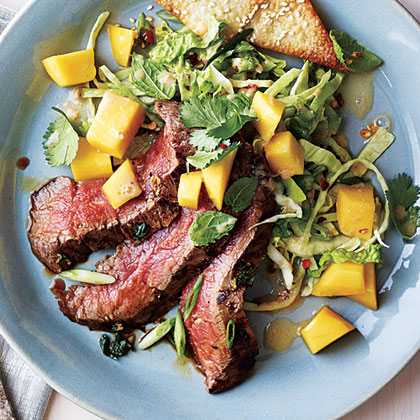 Grilled Asian Flank Steak with Mango Salad