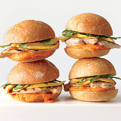 Grilled Chicken Sandwiches with Pickled Squash and Romesco Mayonnaise