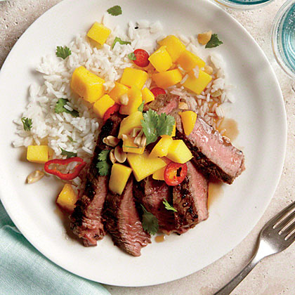 ck-Grilled Sirloin Steak with Mango and Chile Salad