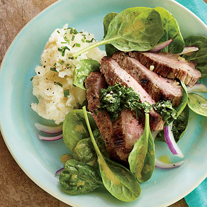 Steak with Lemon-Herb Pesto and Spinach Salad