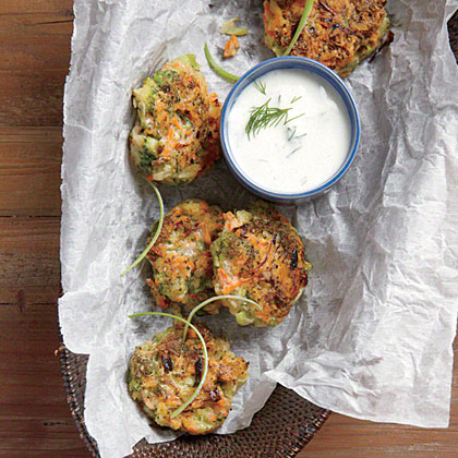 Broccoli-Carrot Fritters with Dill Sauce