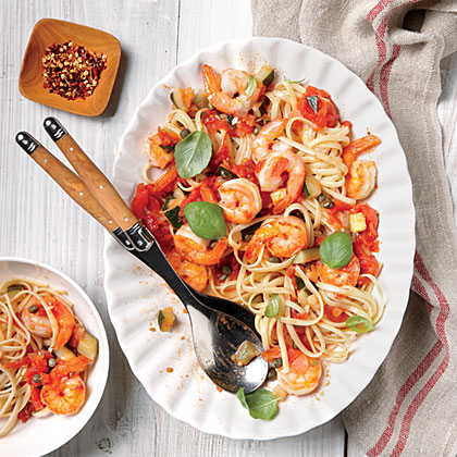Pasta with Shrimp and Tomato-Caper Sauce