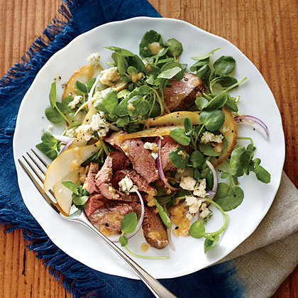 Steak, Pear, and Watercress Salad