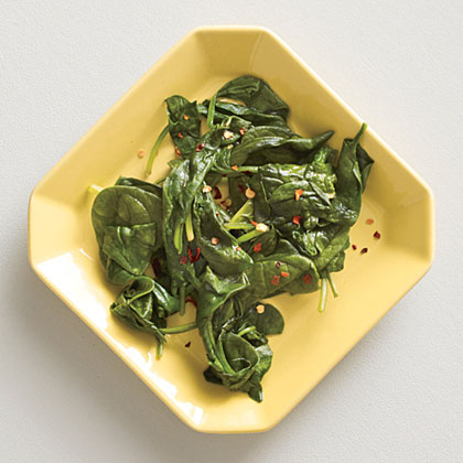 Cider Vinegar-Spiked Steamed Baby Spinach