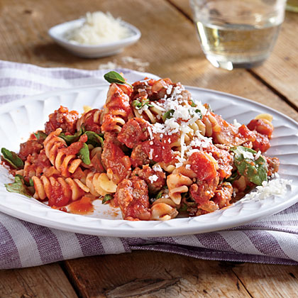 Quick Rotini with Sausage and Tomato Sauce