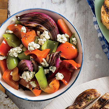Grilled Pepper, Onion, and Blue Cheese Salad