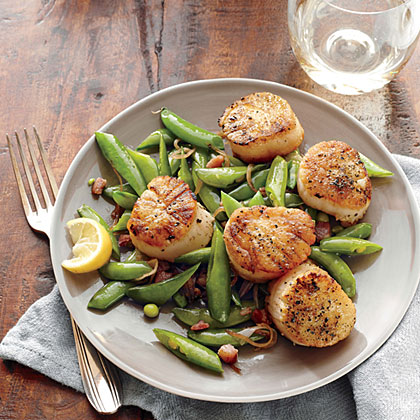 Seared Scallops with Snap Peas and Pancetta