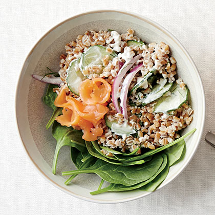Smoked Salmon-Wheat Berry Salad with Caper-Yogurt Dressing