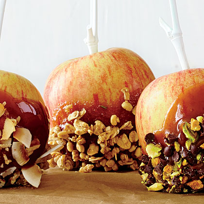Granola and Rosemary Cider Caramel Apples