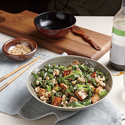 Sesame Barley with Greens and Teriyaki Tofu